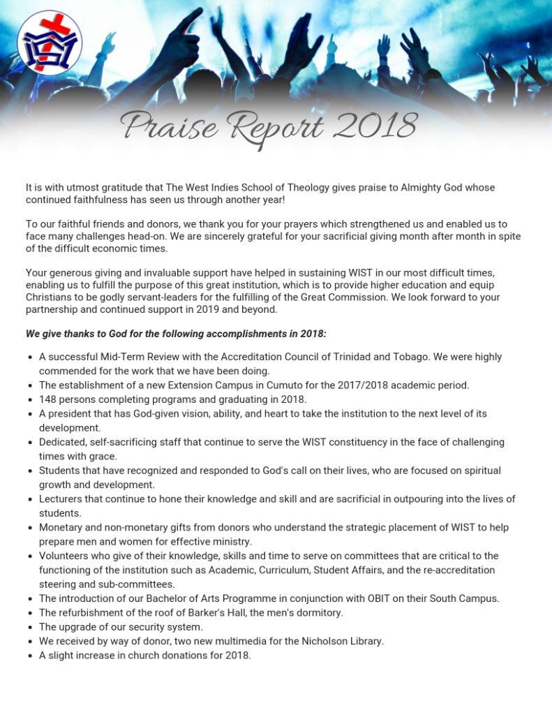 Praise Report 2018